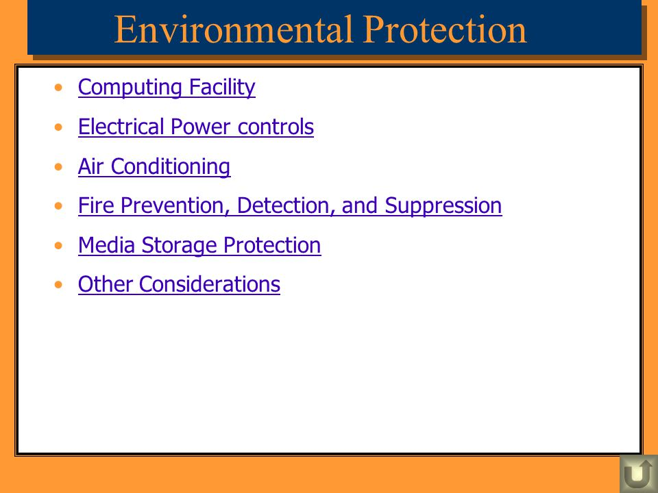 Environmental Protection Computing Facility Electrical Power controls Air Conditioning Fire Prevention, Detection, and Suppression Media Storage Prote