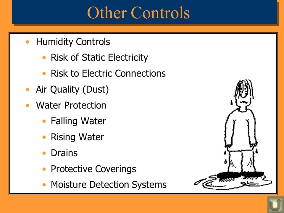 Humidity Controls Risk of Static Electricity Risk to Electric Connections Air Quality (Dust) Water Protection Falling Water Rising Water Drains Protec