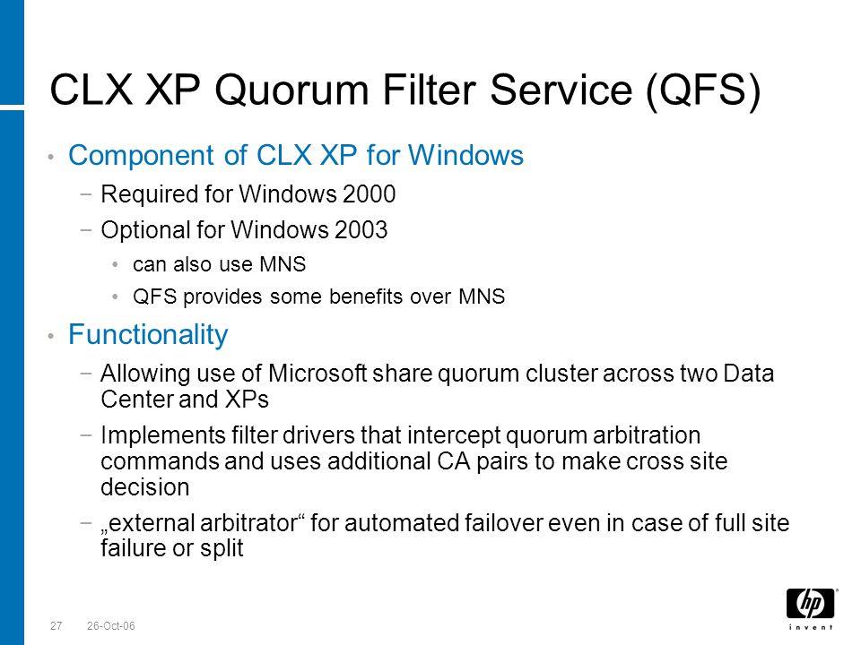 Till Stimberg, SWD EMEA 26-Oct-0627 CLX XP Quorum Filter Service (QFS) Component of CLX XP for Windows Required for Windows 2000 Optional for Windows
