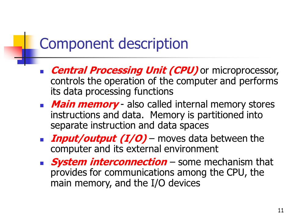 11 Component description Central Processing Unit (CPU) or microprocessor, controls the operation of the computer and performs its data processing func