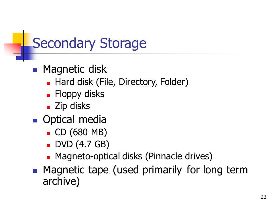 23 Secondary Storage Magnetic disk Hard disk (File, Directory, Folder) Floppy disks Zip disks Optical media CD (680 MB) DVD (4.7 GB) Magneto-optical d
