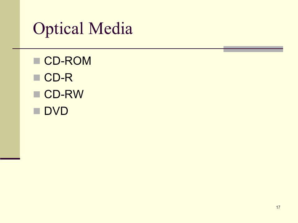 17 Optical Media CD-ROM CD-R CD-RW DVD