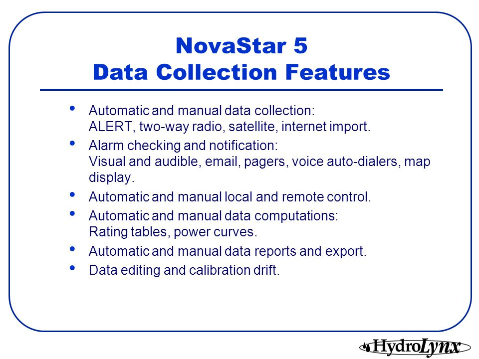 NovaStar 5 Server Design Diagram SERVER SIDECLIENT SIDE Data Collection Remote Control Data Storage Alarm Checking Alarm Display Data Display Database Setup Data Editing Data Analysis Automatic Computation Automatic Reports Alarm Message View Reports