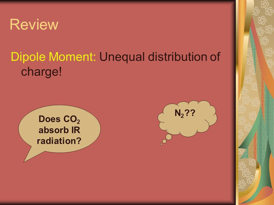 Review Dipole Moment: Unequal distribution of charge! Does CO 2 absorb IR radiation? N 2 ??