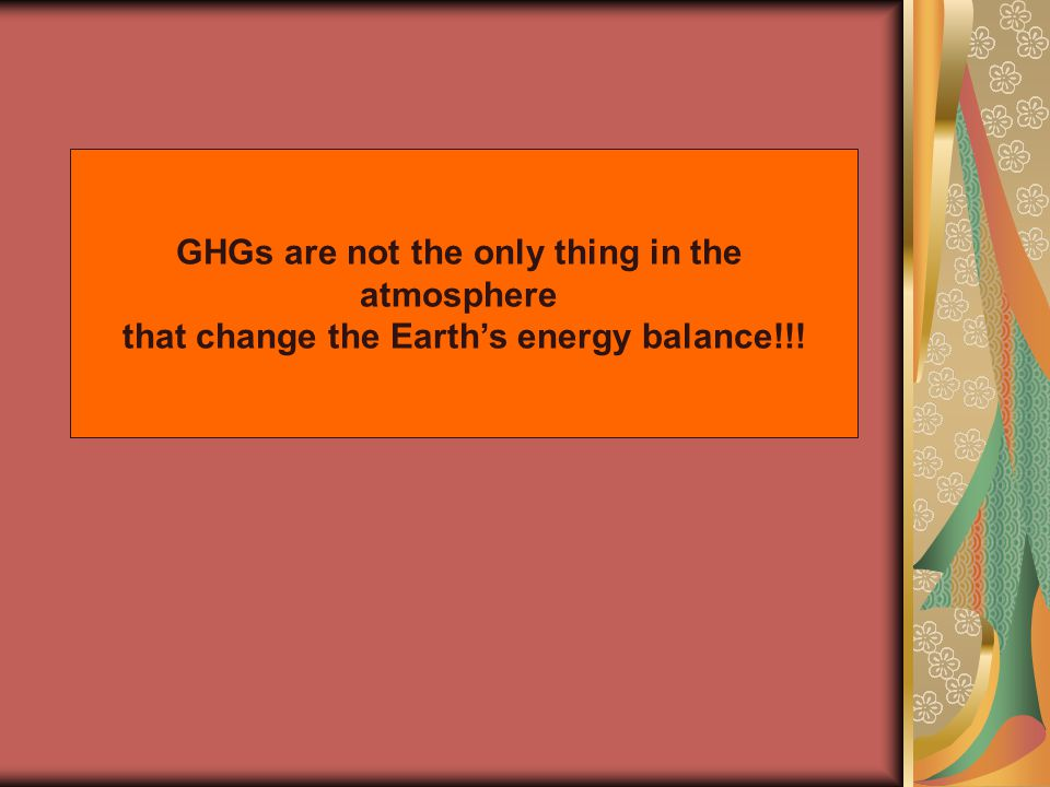 GHGs are not the only thing in the atmosphere that change the Earths energy balance!!!