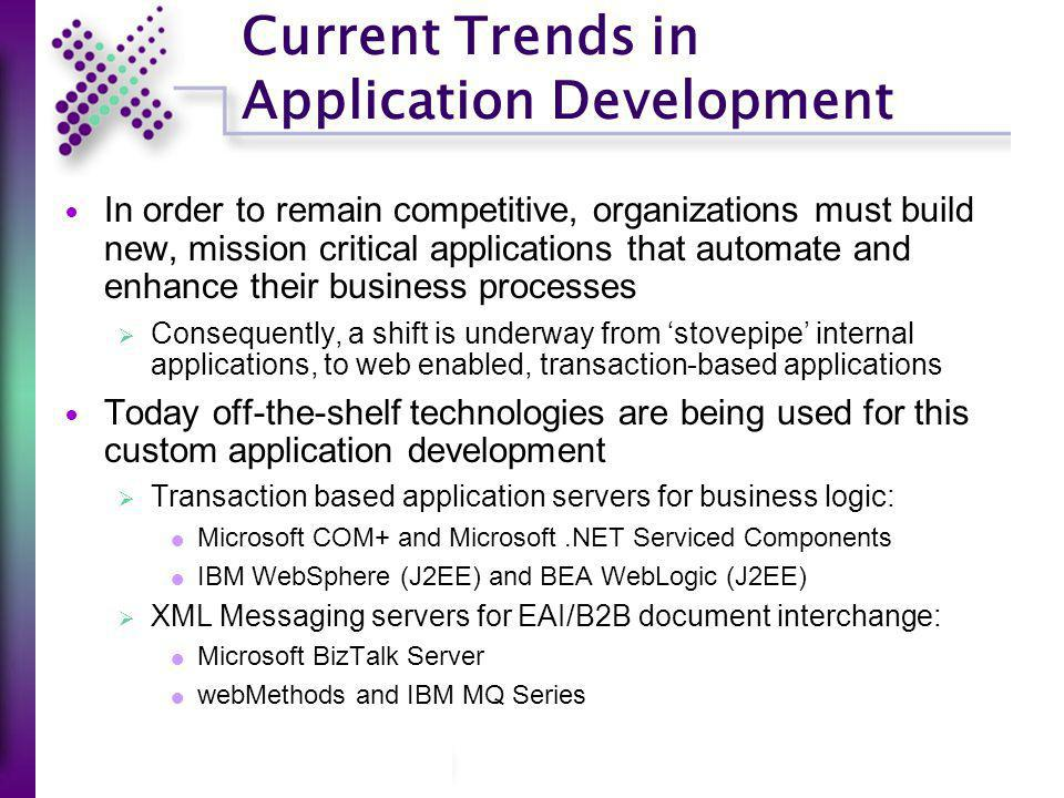 Current Trends in Application Development In order to remain competitive, organizations must build new, mission critical applications that automate an
