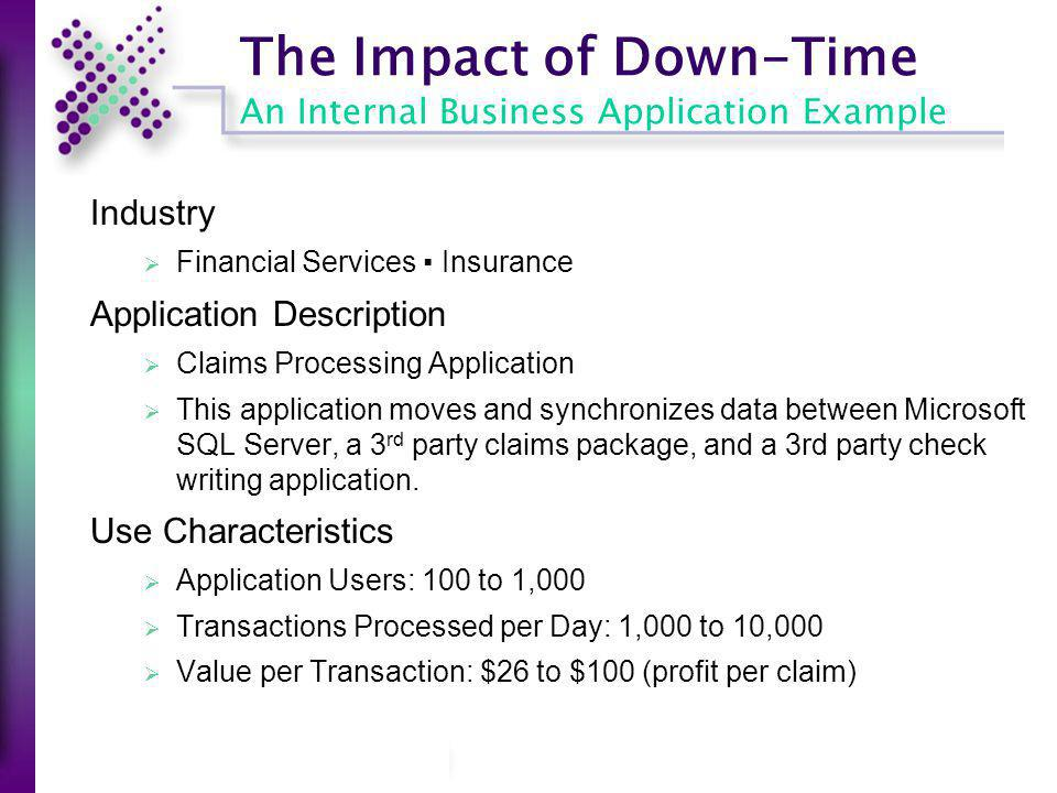The Impact of Down-Time An Internal Business Application Example Industry Financial Services Insurance Application Description Claims Processing Appli