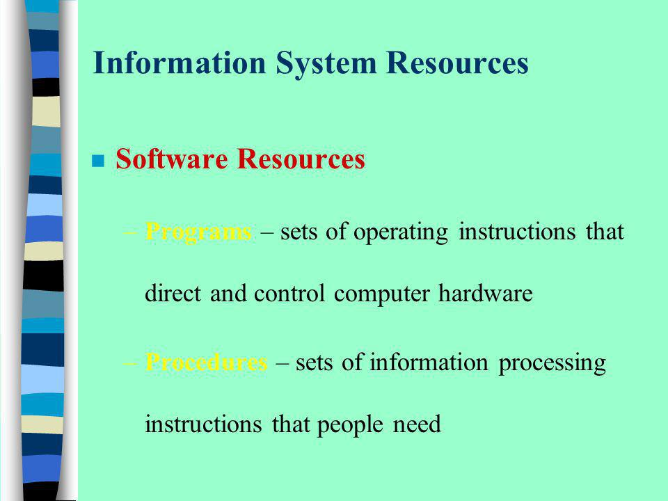 Information System Resources n Software Resources –Programs – sets of operating instructions that direct and control computer hardware –Procedures – s