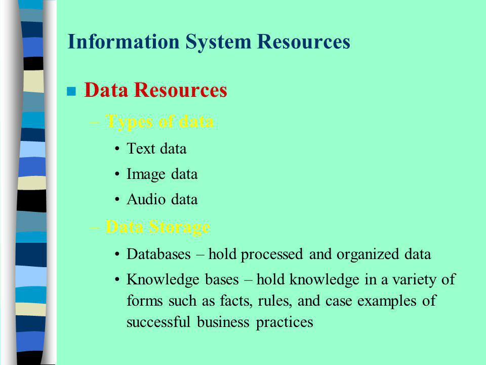 Information System Resources n Data Resources –Types of data Text data Image data Audio data –Data Storage Databases – hold processed and organized da