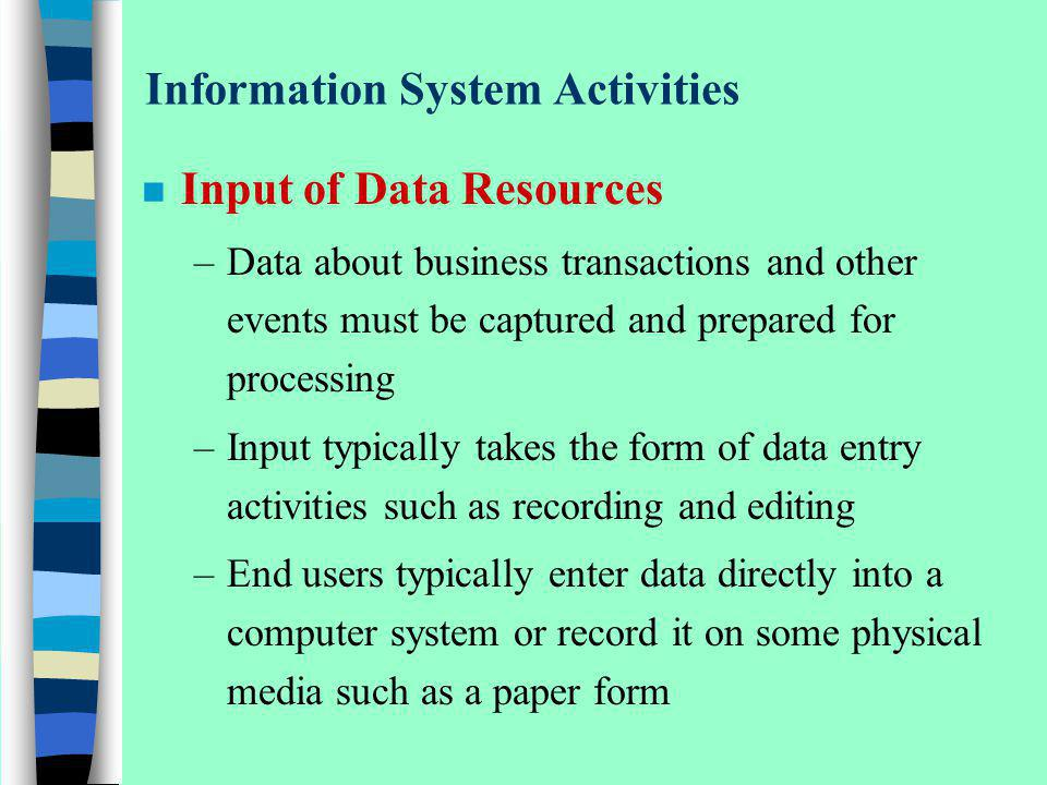 Information System Activities n Input of Data Resources –Data about business transactions and other events must be captured and prepared for processin