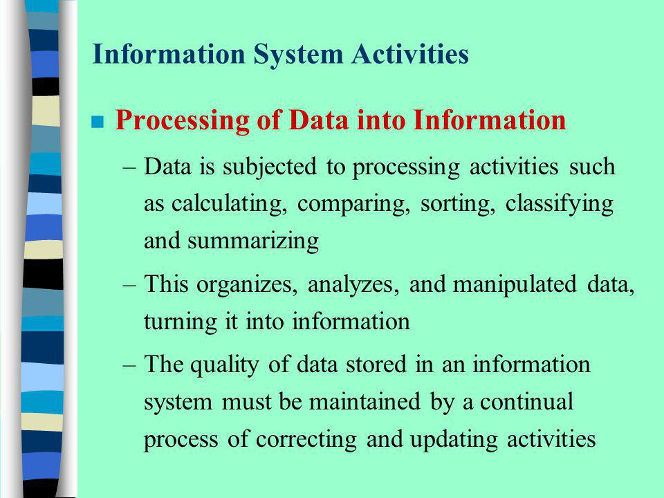 Information System Activities n Processing of Data into Information –Data is subjected to processing activities such as calculating, comparing, sortin