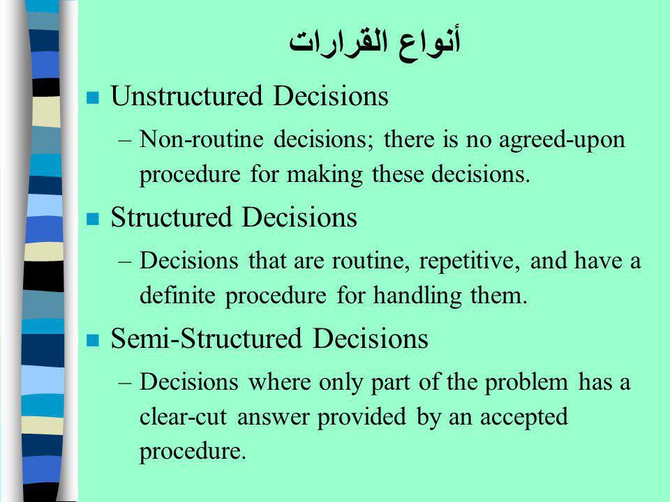 أنواع القرارات n Unstructured Decisions –Non-routine decisions; there is no agreed-upon procedure for making these decisions. n Structured Decisions –