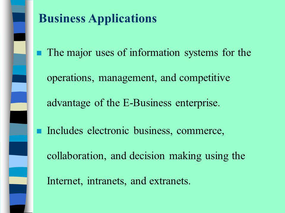 The IS Function n A vital ingredient in developing competitive products and services that give an organization a strategic advantage in the global marketplace n A dynamic, rewarding, and challenging career opportunity for millions of men and women n A key component of the resources, infrastructure, and capabilities of todays e- business enterprises