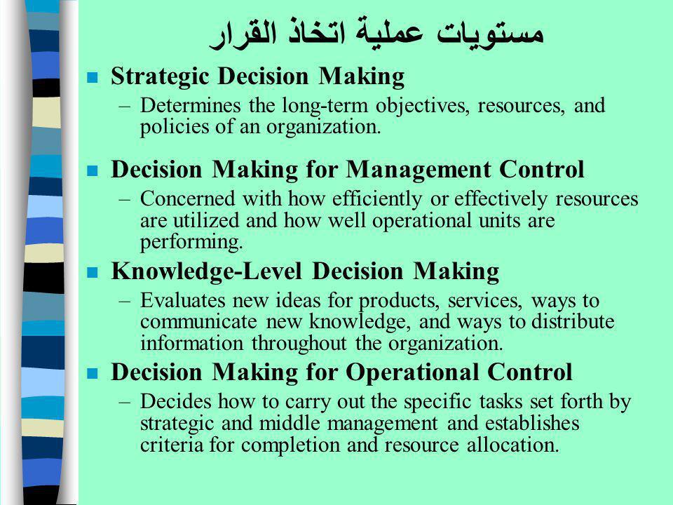مستويات عملية اتخاذ القرار n Strategic Decision Making –Determines the long-term objectives, resources, and policies of an organization. n Decision Ma