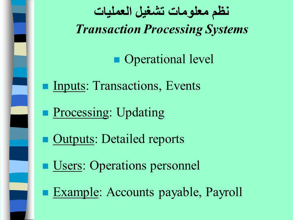 n Operational level n Inputs: Transactions, Events n Processing: Updating n Outputs: Detailed reports n Users: Operations personnel n Example: Account