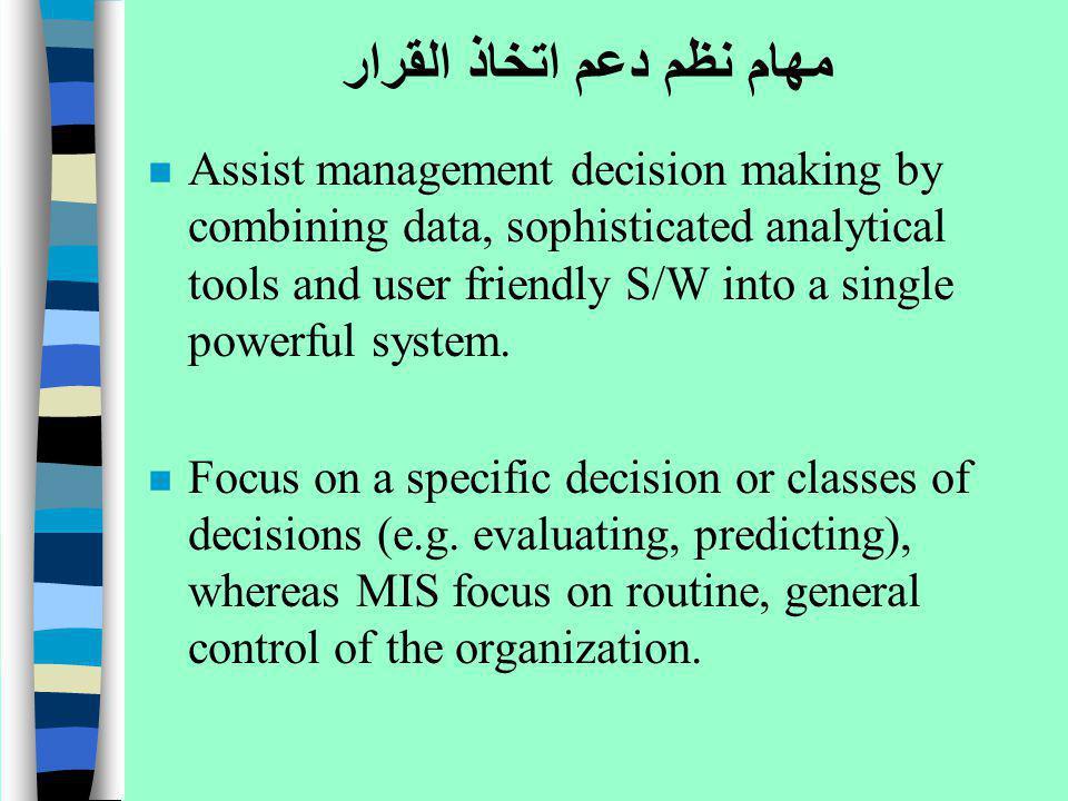 مهام نظم دعم اتخاذ القرار n Assist management decision making by combining data, sophisticated analytical tools and user friendly S/W into a single po