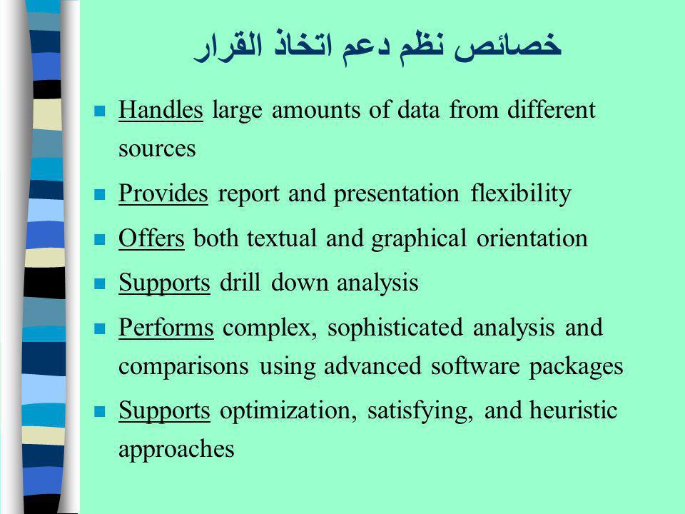 خصائص نظم دعم اتخاذ القرار n Handles large amounts of data from different sources n Provides report and presentation flexibility n Offers both textual