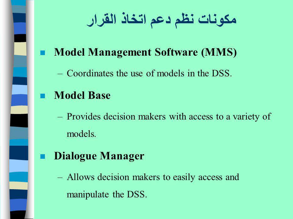 مكونات نظم دعم اتخاذ القرار n Model Management Software (MMS) –Coordinates the use of models in the DSS. n Model Base –Provides decision makers with a