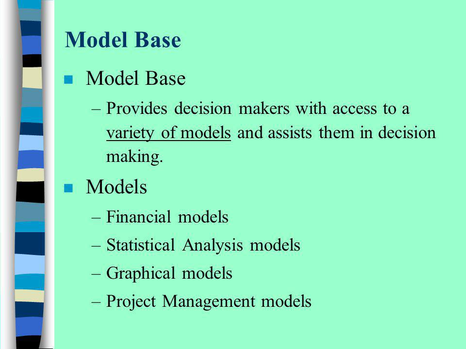 Model Base n Model Base –Provides decision makers with access to a variety of models and assists them in decision making. n Models –Financial models –