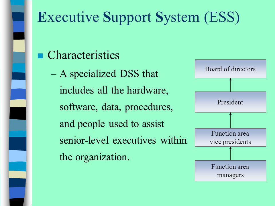 Executive Support System (ESS) n Characteristics –A specialized DSS that includes all the hardware, software, data, procedures, and people used to ass