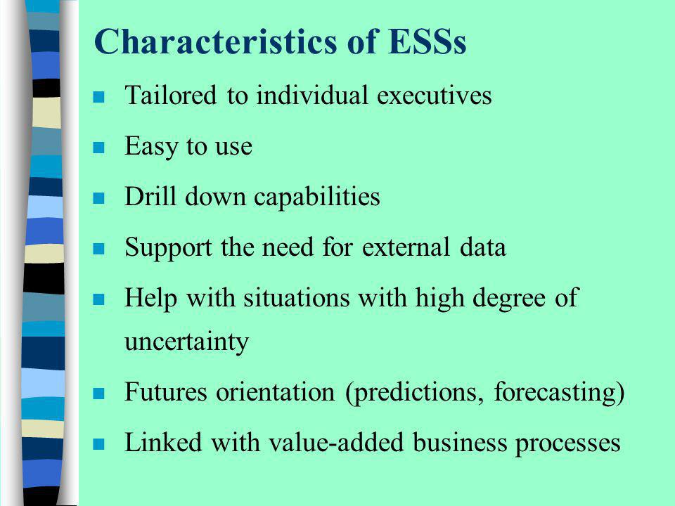 Characteristics of ESSs n Tailored to individual executives n Easy to use n Drill down capabilities n Support the need for external data n Help with s