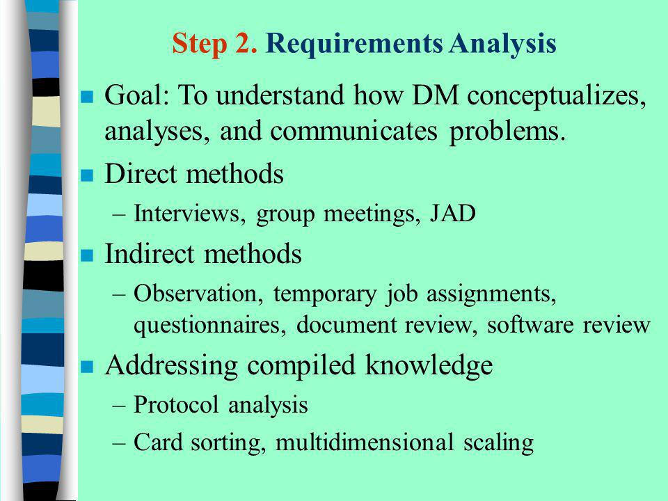 Step 2. Requirements Analysis n Goal: To understand how DM conceptualizes, analyses, and communicates problems. n Direct methods –Interviews, group me