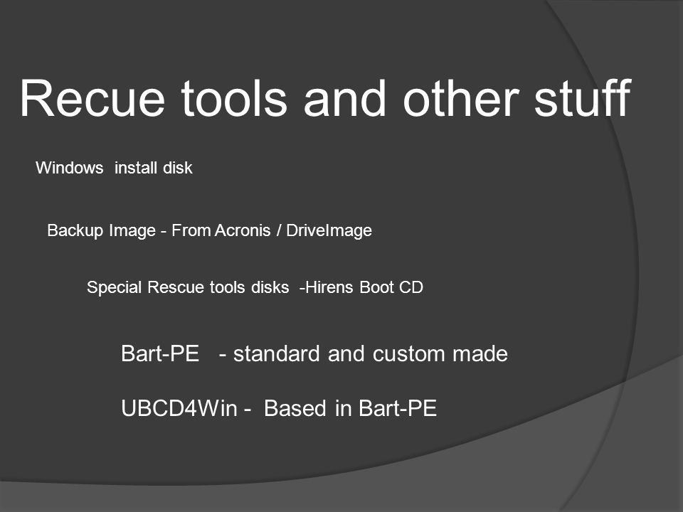 Recue tools and other stuff Windows install disk Backup Image - From Acronis / DriveImage Special Rescue tools disks -Hirens Boot CD Bart-PE - standard and custom made UBCD4Win - Based in Bart-PE