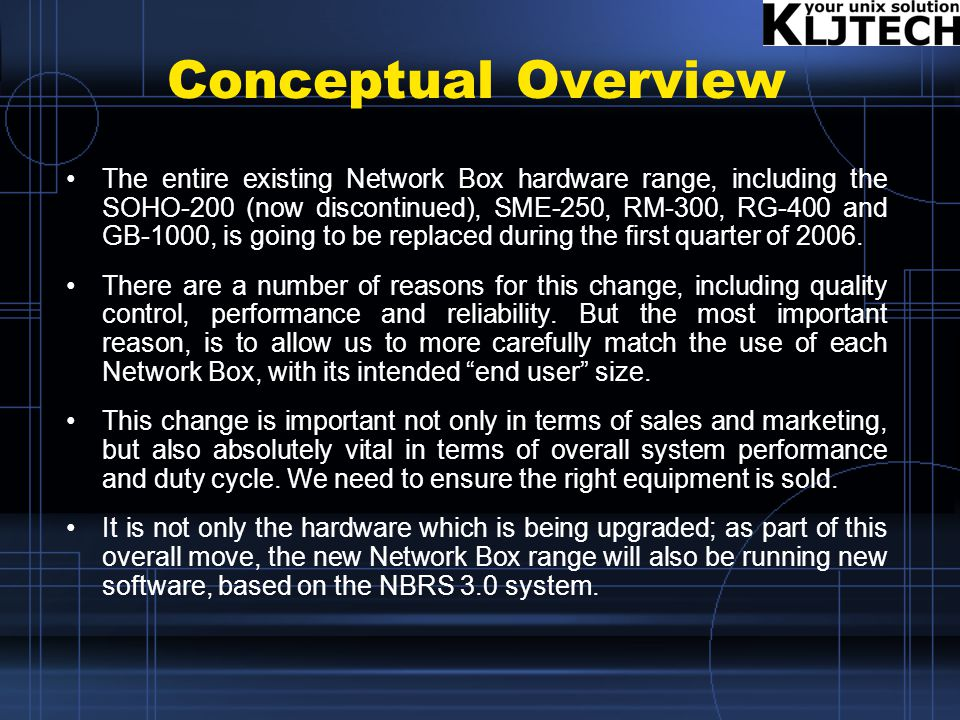 Conceptual Overview The entire existing Network Box hardware range, including the SOHO-200 (now discontinued), SME-250, RM-300, RG-400 and GB-1000, is going to be replaced during the first quarter of 2006.