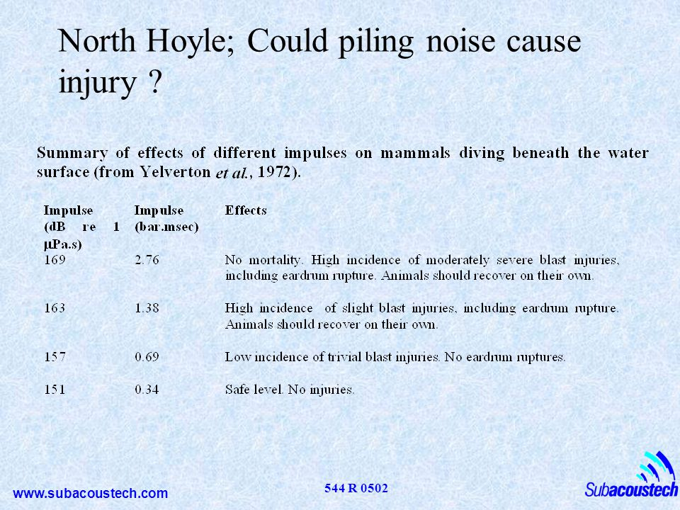 www.subacoustech.com 544 R 0502 North Hoyle; Could piling noise cause injury ?