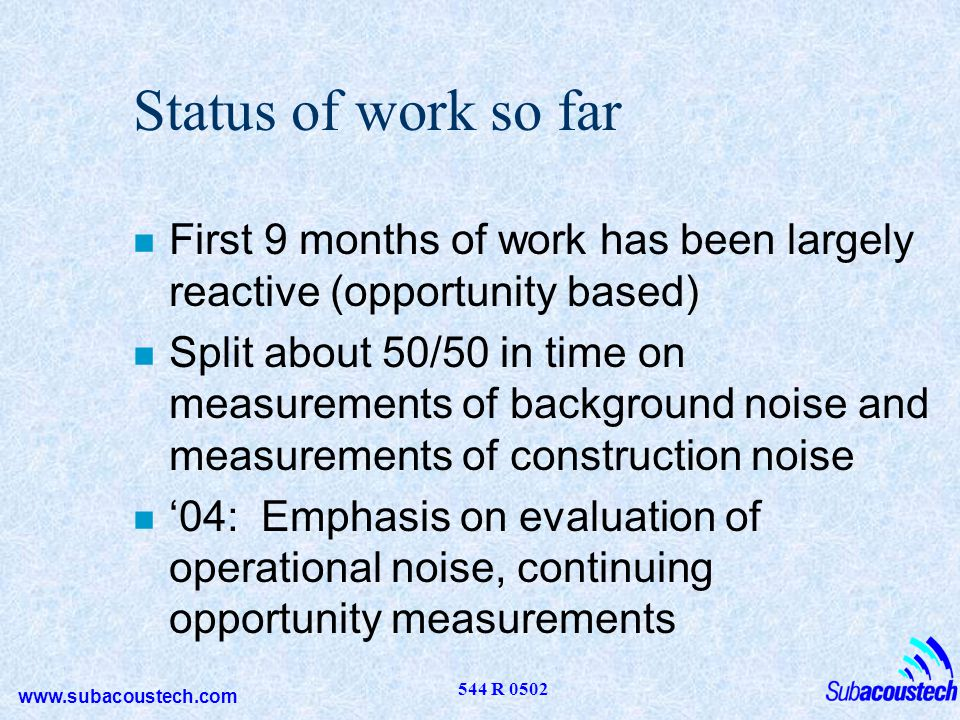 www.subacoustech.com 544 R 0502 Status of work so far n First 9 months of work has been largely reactive (opportunity based) n Split about 50/50 in ti