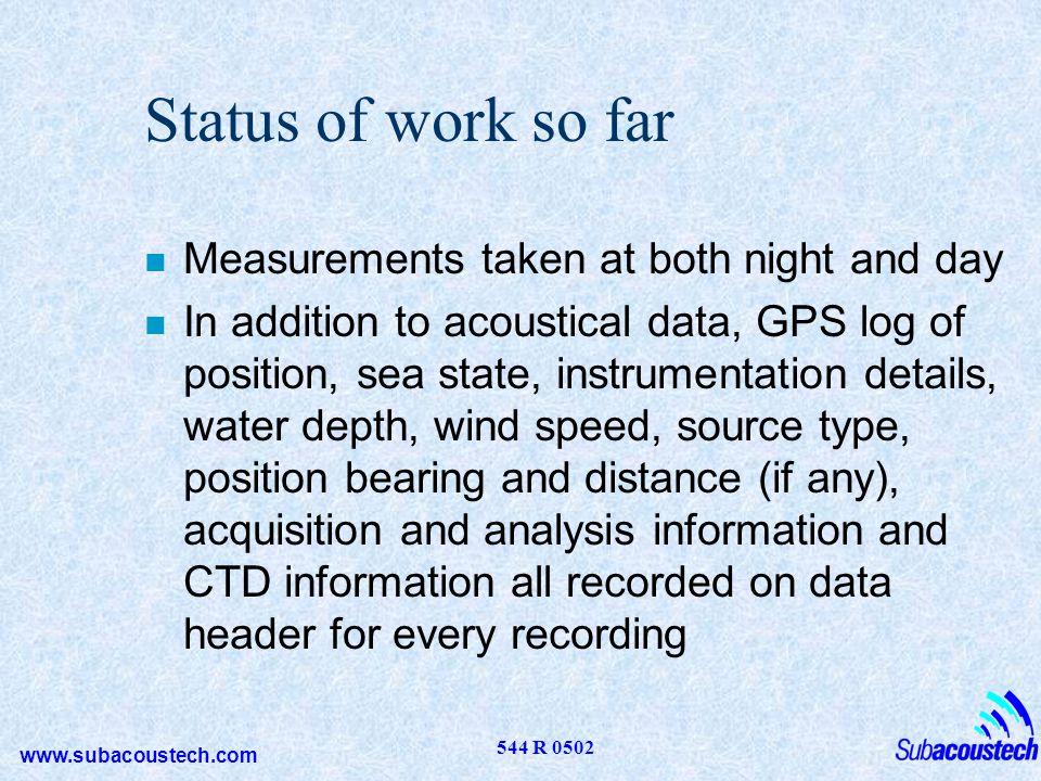 www.subacoustech.com 544 R 0502 Piling noise