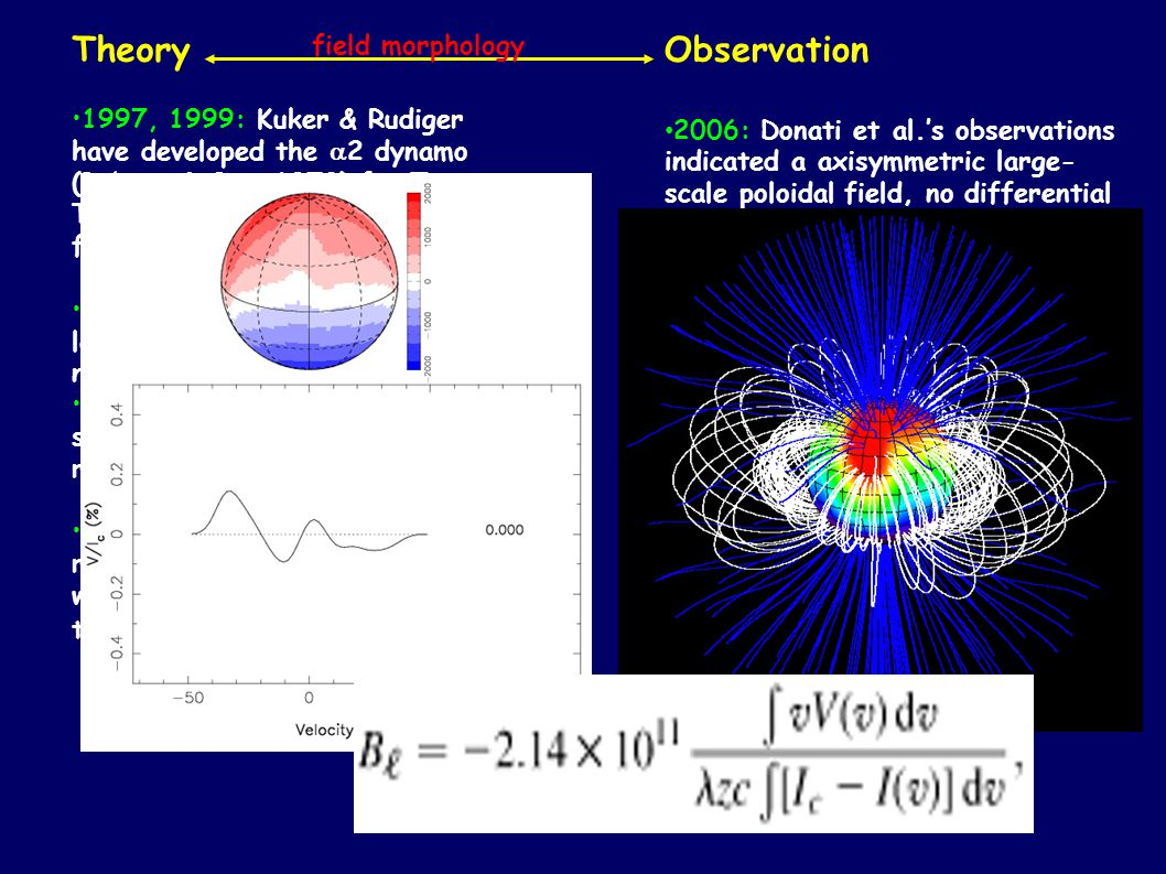 Theory 1997, 1999: Kuker & Rudiger have developed the 2 dynamo (Robert & Stix 1972) for T Tauri stars: non-axisymmetric fields, no differential rotation.