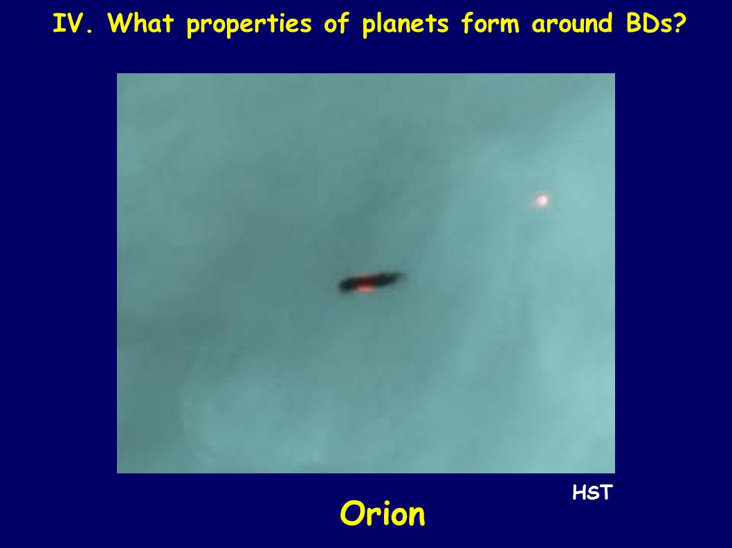 IV. What properties of planets form around BDs? Orion HST