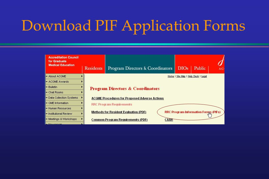 Download PIF Application Forms