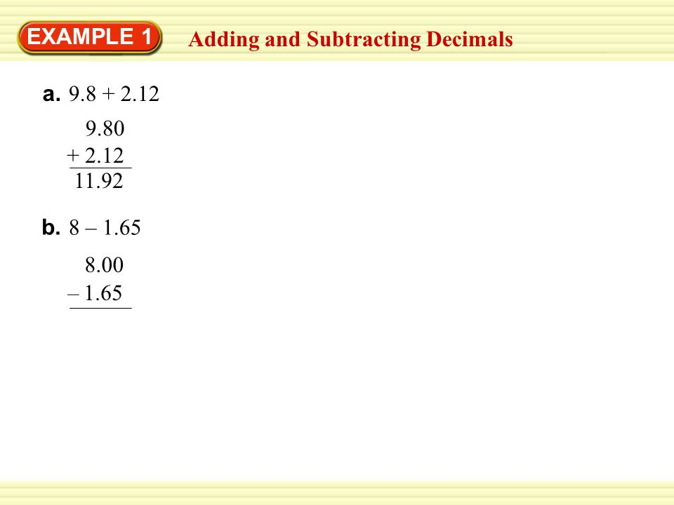 GUIDED PRACTICE 1.4.7 + x = 4.7 + 5.82 = 10.52 12.56 – y = 12.56 – 9.1 2.
