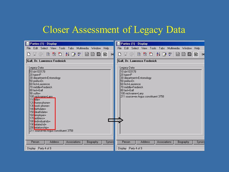 Closer Assessment of Legacy Data