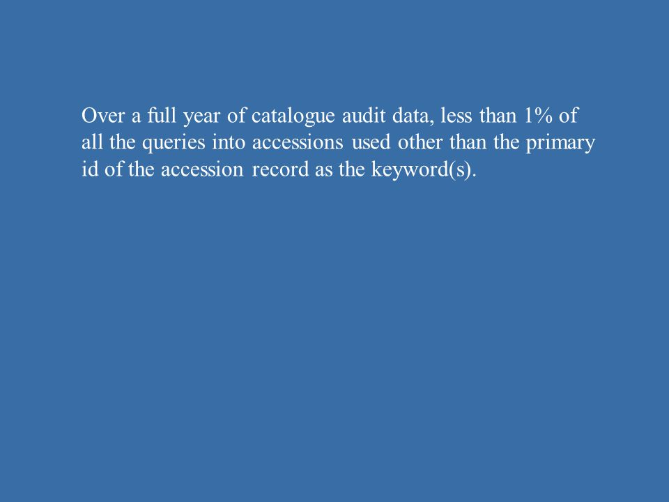 Over a full year of catalogue audit data, less than 1% of all the queries into accessions used other than the primary id of the accession record as th
