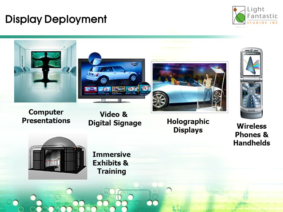 Computer Presentations Video & Digital Signage Holographic Displays Wireless Phones & Handhelds Display Deployment Immersive Exhibits & Training