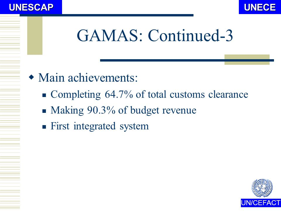 UN/CEFACTUNECEUNESCAP GAMAS: Continued-2 Main advantages vs.