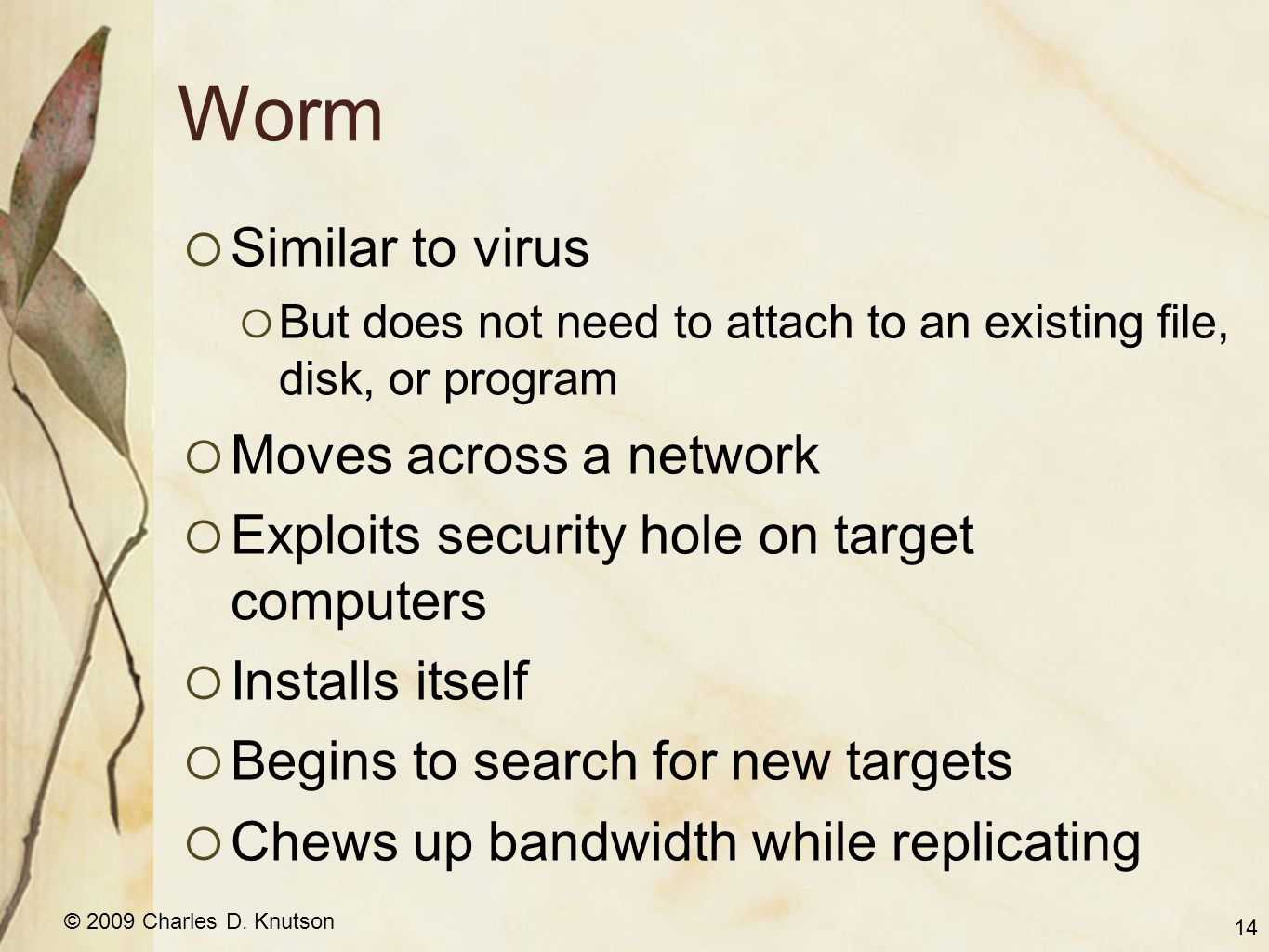 © 2009 Charles D. Knutson Worm Similar to virus But does not need to attach to an existing file, disk, or program Moves across a network Exploits secu
