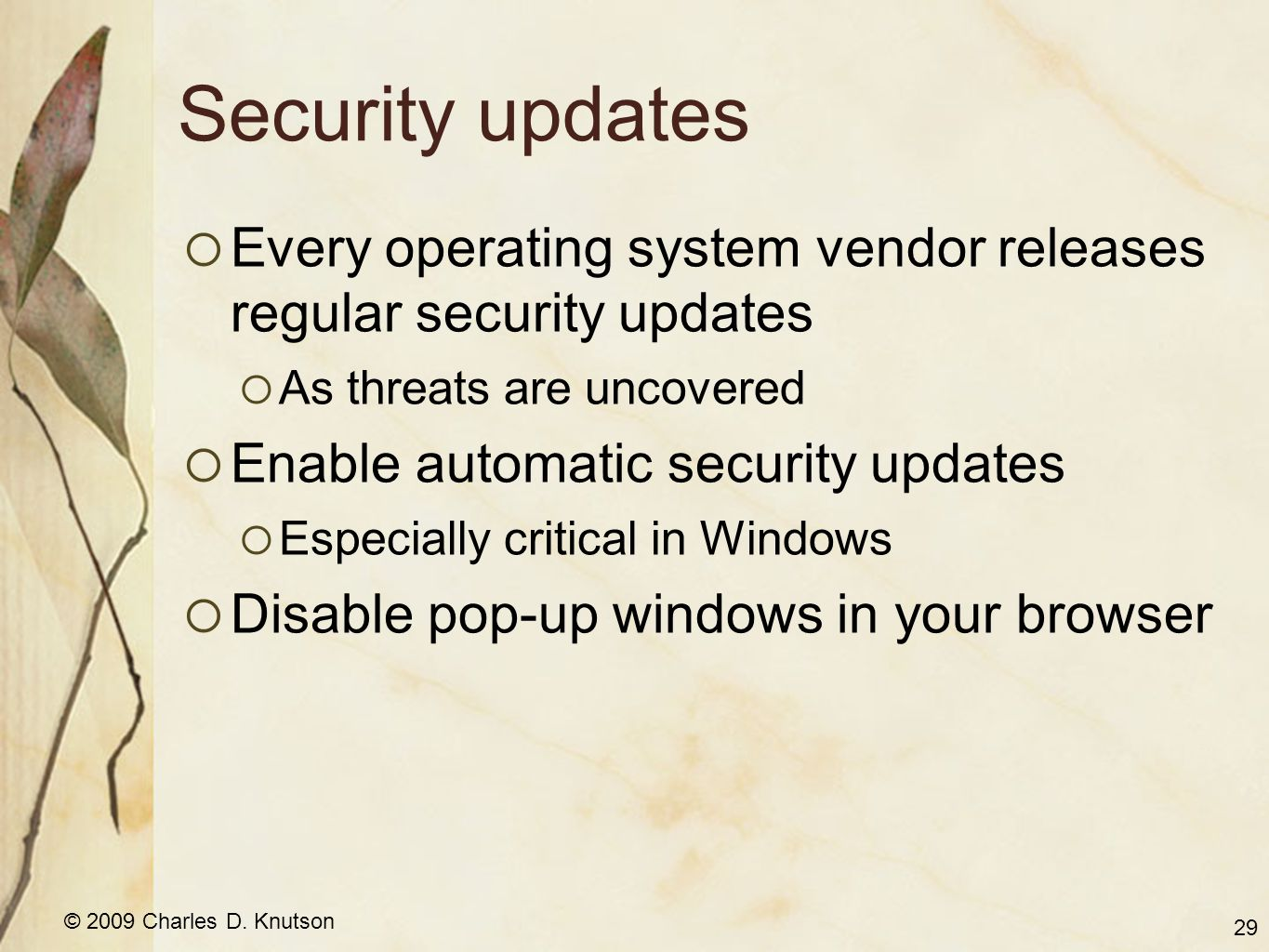 © 2009 Charles D. Knutson Security updates Every operating system vendor releases regular security updates As threats are uncovered Enable automatic s