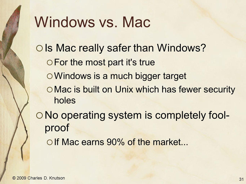 © 2009 Charles D. Knutson Windows vs. Mac Is Mac really safer than Windows.