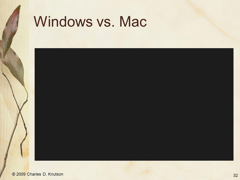 © 2009 Charles D. Knutson Windows vs. Mac 32