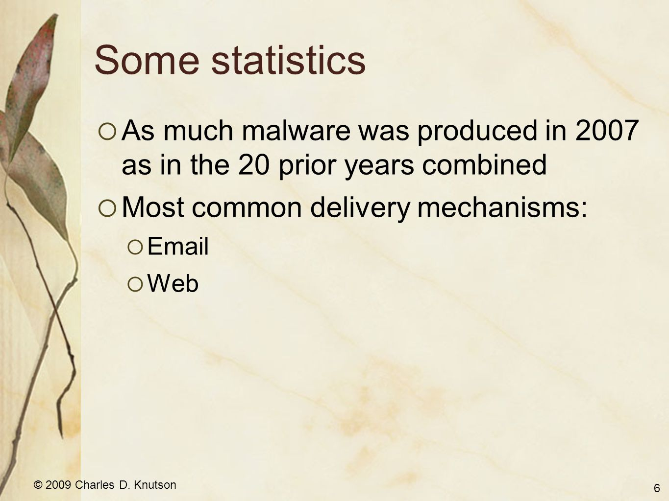 © 2009 Charles D. Knutson Some statistics As much malware was produced in 2007 as in the 20 prior years combined Most common delivery mechanisms: Emai