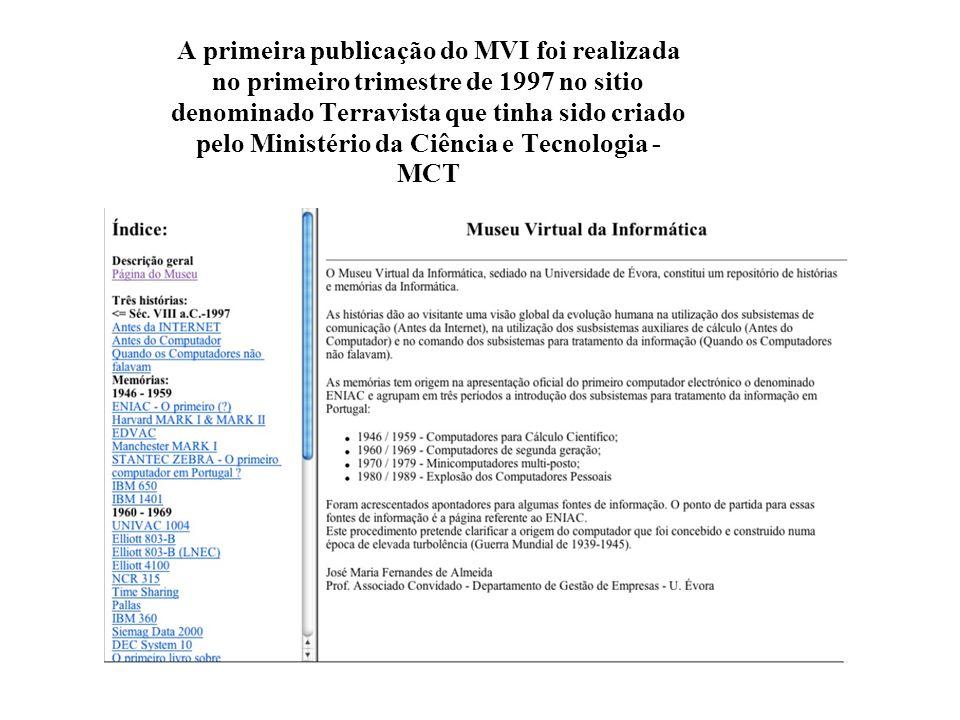 A primeira publicação do MVI foi realizada no primeiro trimestre de 1997 no sitio denominado Terravista que tinha sido criado pelo Ministério da Ciência e Tecnologia - MCT