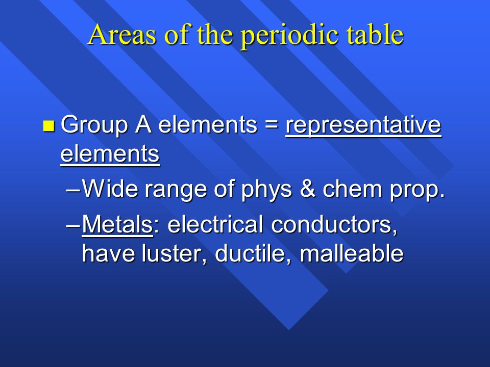 Periodic table n Horizontal rows = periods –There are 7 periods n Periodic law: n Vertical column = group (or family) –Similar physical & chemical pro