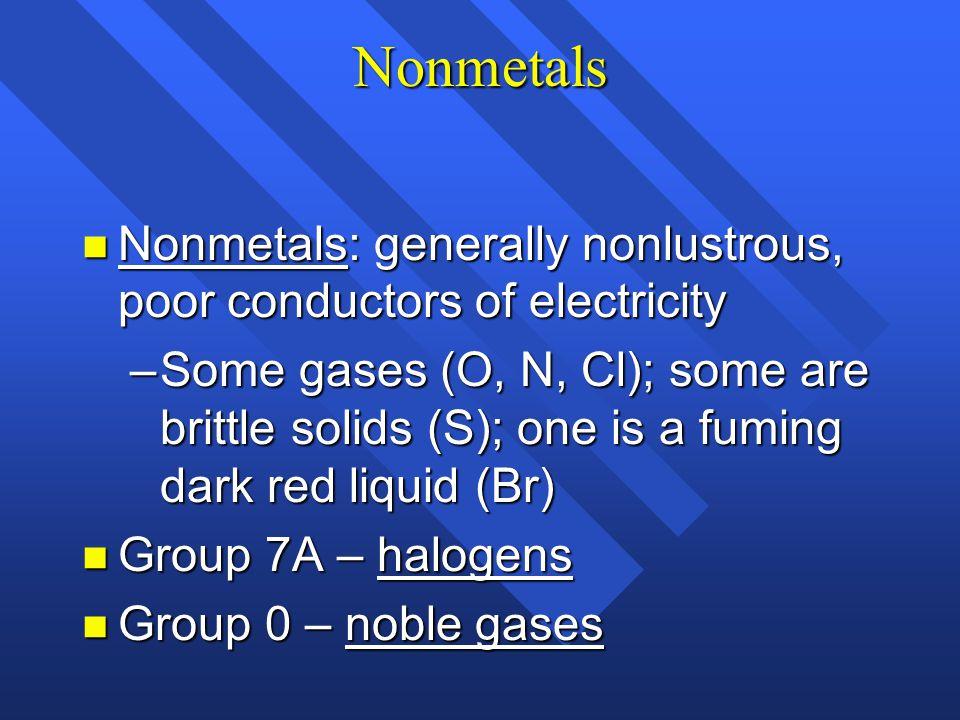 Metals n Group IA – alkali metals n Group 2A – alkaline earth metals n Transition metals and Inner transition metals – Group B n All metals are solids