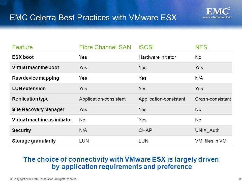 12 © Copyright 2008 EMC Corporation. All rights reserved. EMC Celerra Best Practices with VMware ESX FeatureFibre Channel SANiSCSINFS ESX bootYesHardw
