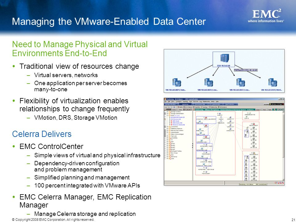 21 © Copyright 2008 EMC Corporation. All rights reserved. Managing the VMware-Enabled Data Center Traditional view of resources change –Virtual server