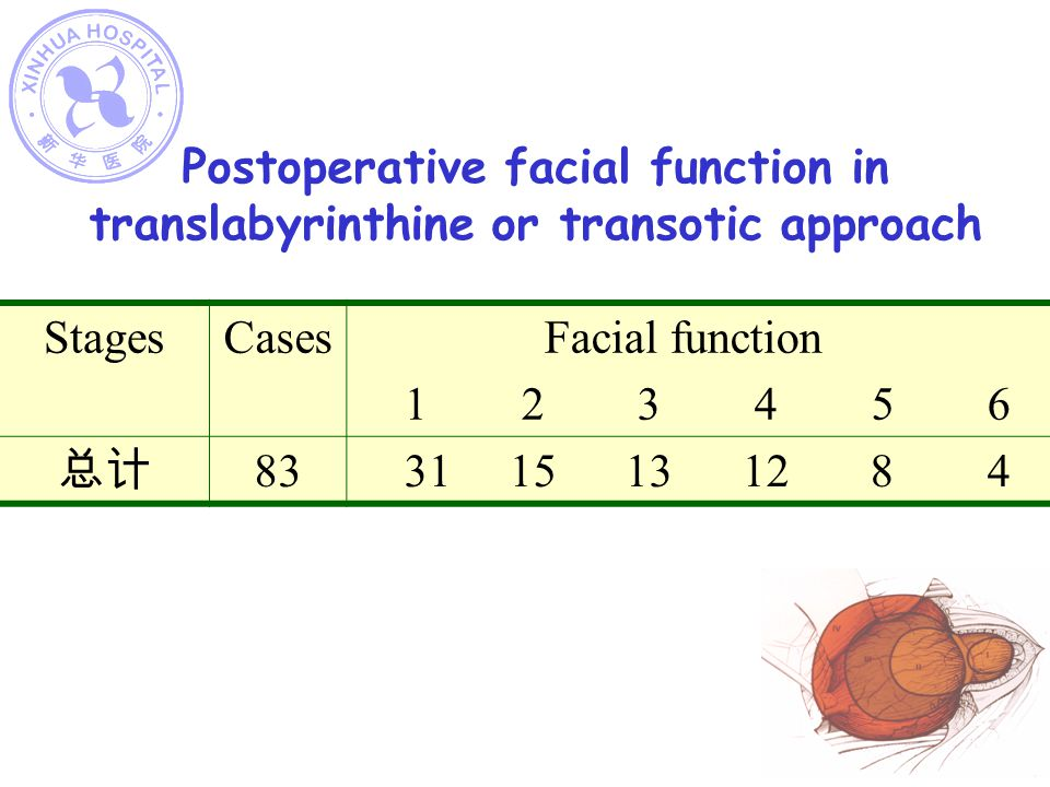 Postoperative facial function in translabyrinthine or transotic approach StagesCases Facial function 1 2 3 4 5 6 83 31 15 13 12 8 4